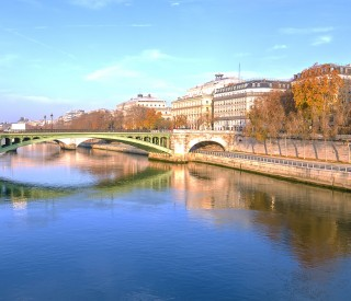 Seine river and Old Town of Paris (France) in the morning