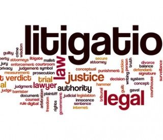 Litigation word cloud concept with legal law related tags